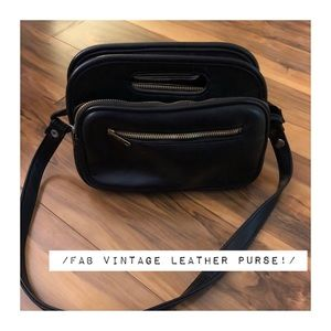 Vintage Black Leather Purse, Gold Hardware